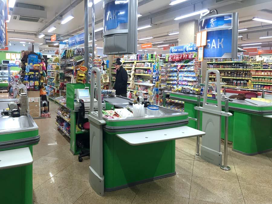 Противокражное оборудование - установка в супермаркете Оазис