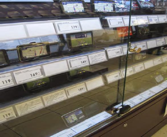 Защита стеклянных витрин магазина после установки inVue Cabinet Lock