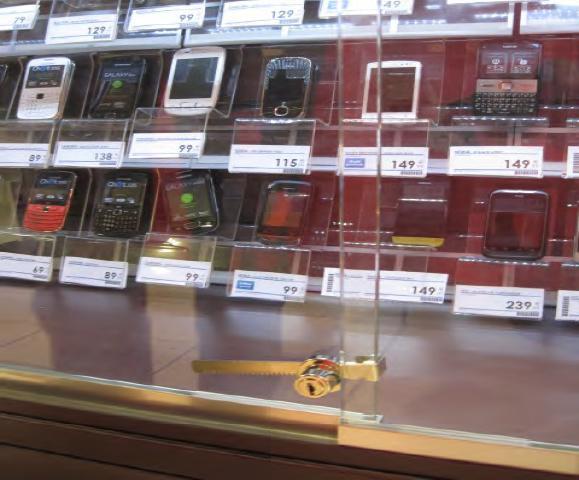 Защита стеклянных витрин магазина до установки inVue Cabinet Lock